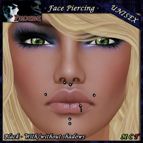 [$40L PROMO] *P* Unisex Face Piercing ~ Serie P4 ~ Black
