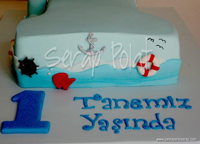 Deniz temalı 1 yaş pastası