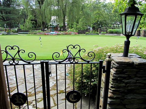 A view of the putting green, a central feature of the gardens