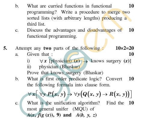 UPTU MCA Question Papers - MCA-204 - Paradigms of Programming