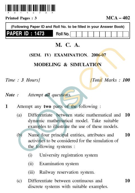 UPTU MCA Question Papers - MCA-402 - Modeling & Simulation
