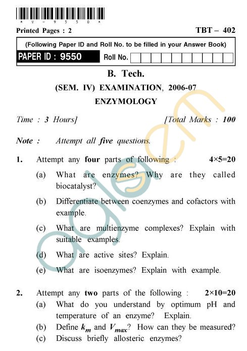 UPTU B.Tech Question Papers - TBT-402 - Enzymologist