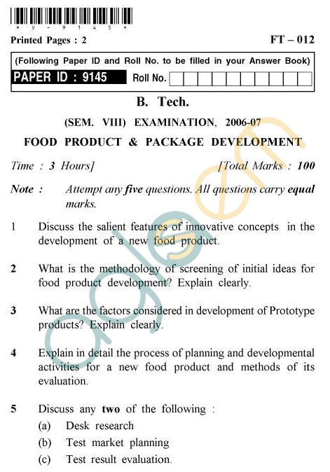 UPTU B.Tech Question Papers - FT-012 - Food Product & Package Development