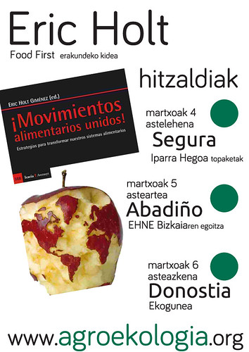 Eric Holt, Food First erakundeko kidea Euskal Herrian da elikaduraren aldeko mugimendu globalaz hitz egiteko