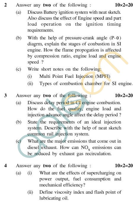 UPTU B.Tech Question Papers - TME-602 - I.C. Engine