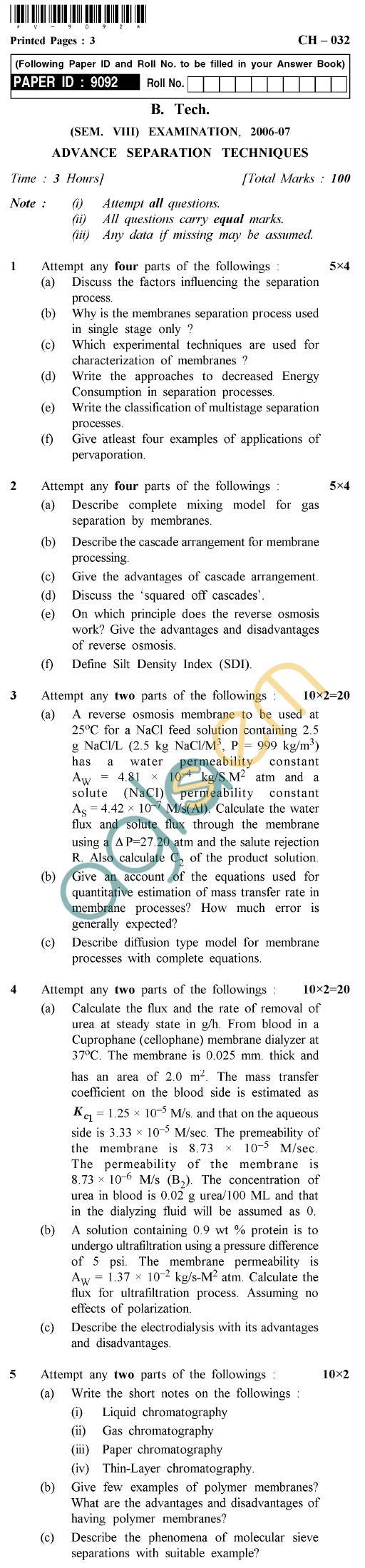 UPTU B.Tech Question Papers -CH-032 - Advance Separation Techniques