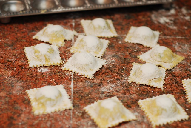 Ravioli with goat cheese and spinach in parmesan cream sauce
