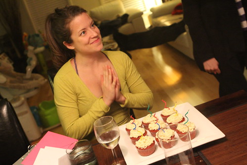 Anne-Marie with Birthday Cupcakes