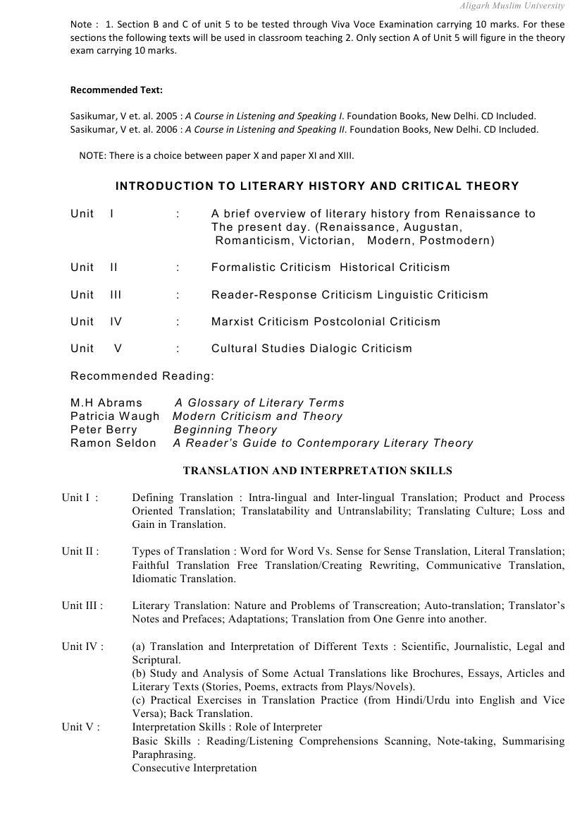 AMU Syllabus  - Social Science - B. Ed. (English)