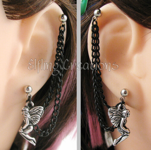 Silver and Black Fairy Chain Earrings