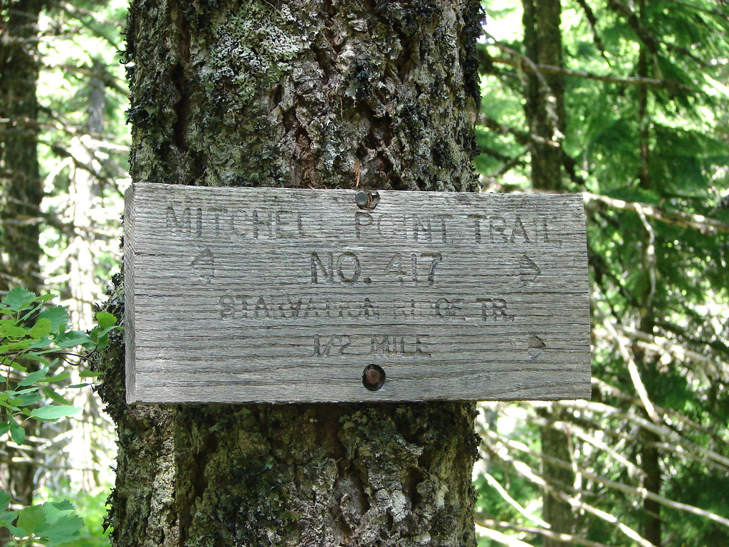 Trail sign for the Mitchell Point Trail