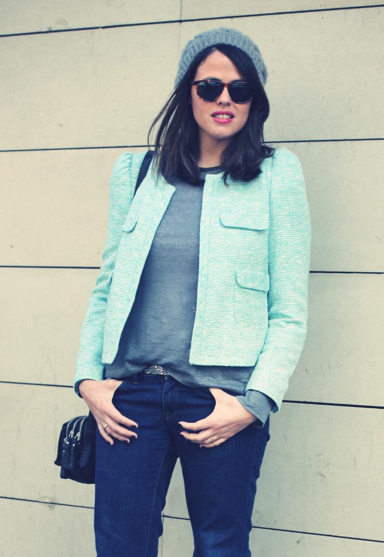 Look blazer azul + gorro gris - Monicositas 1