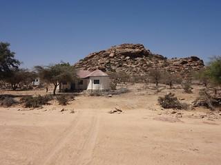 Casa e montanha no recinto de Las Geel