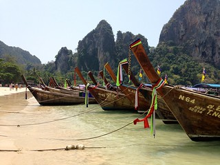Image of Railay Beach West (อ่าวไร่เลย์ ตะวันตก) Rai Leh West. beach weather thailand boats day clear krabi photostream railay