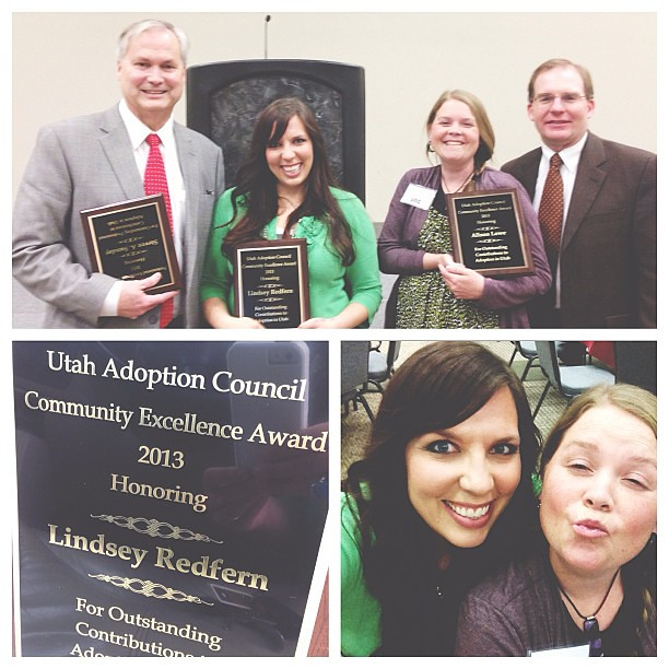 Just got home from a wonderful luncheon at the Utah Adoption Council Annual Conference where I was one of three award recipients. Say whaaaat? It's the first time they have ever honored a blogger! Glad to have my 4 boys there cheering for me. #yayforblogg