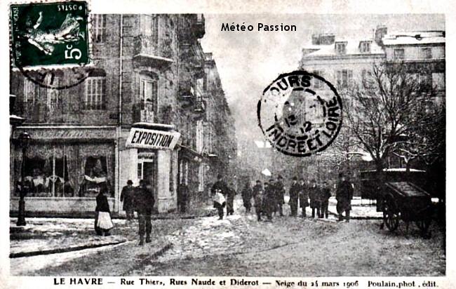 mélasse froide dans les rues du Havre le 24 mars 1906 météopssion
