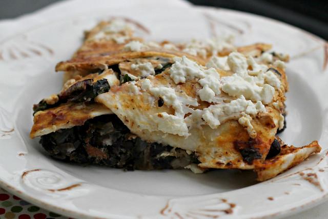 Layered Pasilla-Tortilla Casserole with Black Beans, Mushrooms, and ...