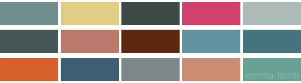 colour palette : teal grey & rust curated by Emma Lamb