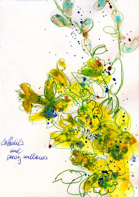 Journal page: daffodils/pussy willows