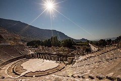 Strong sunlight shines on the 3rd Century B.C., 25,000 seat, Greek theatre at Ephesus, Turkey #travel #turkey #unesco
