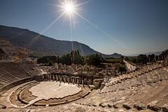 Strong sunlight shines on the 3rd Century B.C., 25,000 seat, Greek theatre at Ephesus, Turkey #travel #turkey #unesco