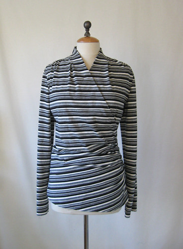 Wrap top knit grey stripe front
