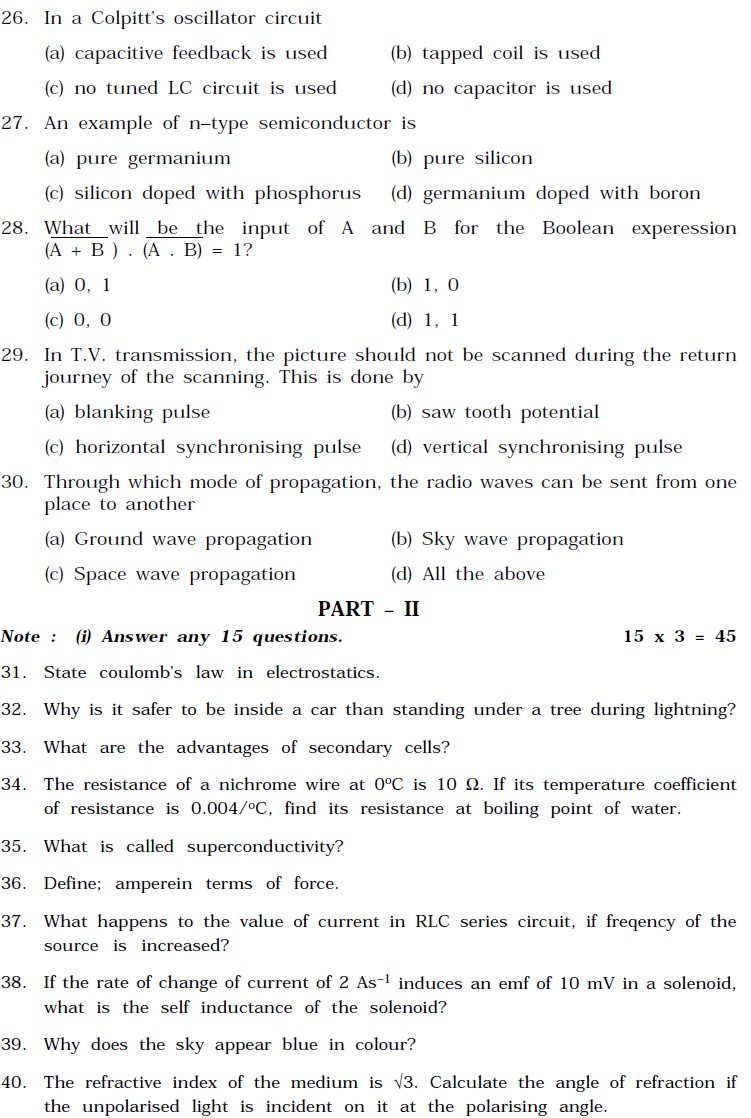 Tamil Nadu State Board Class 12 Model Question Paper - Physics
