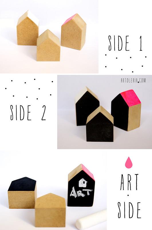 set di 3 casette dipinte a mano vernice lavagna
