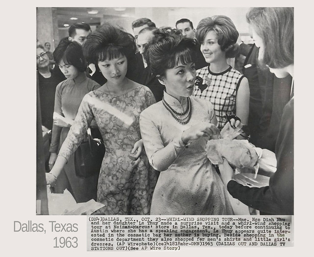 TEXAS 1963 - WHIRLWIND SHOPPING TOUR - Vietnam's Madame Nhu and daughter Le Thuy