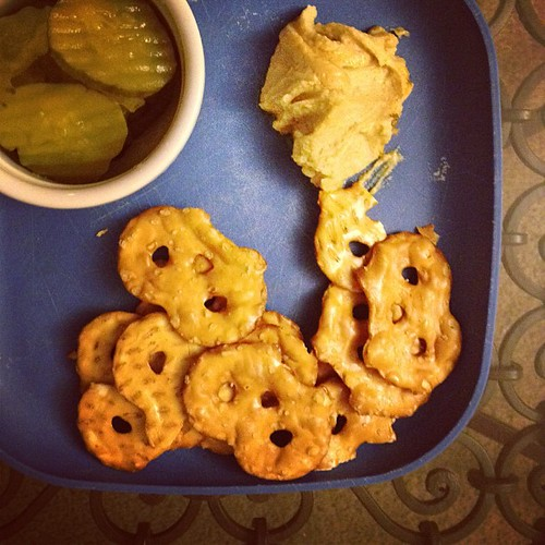 What I would eat for dinner every night if I lived alone. #pickles #hummus #foodie #gourmetrealness