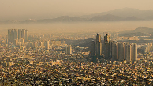 city winter orange mountain beautiful landscape golden smog day outdoor korea southkorea daegu apsan d5100