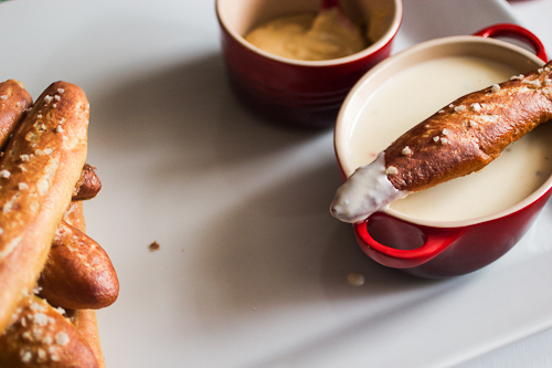 Soft Pretzel Sticks with Spicy Cheese Sauce