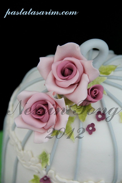 birdcase cake and pink roses