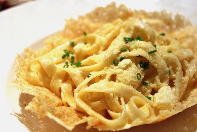 Fettuccine Alfredo in Crisp Parmesan Basket