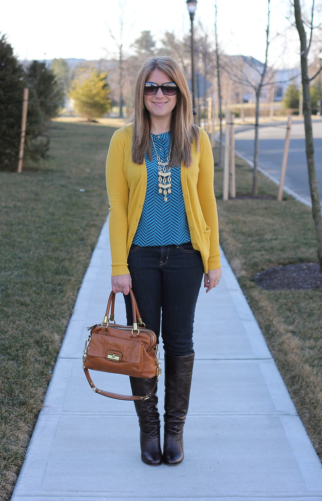 Chevron Print Top and Mustard Cardigan