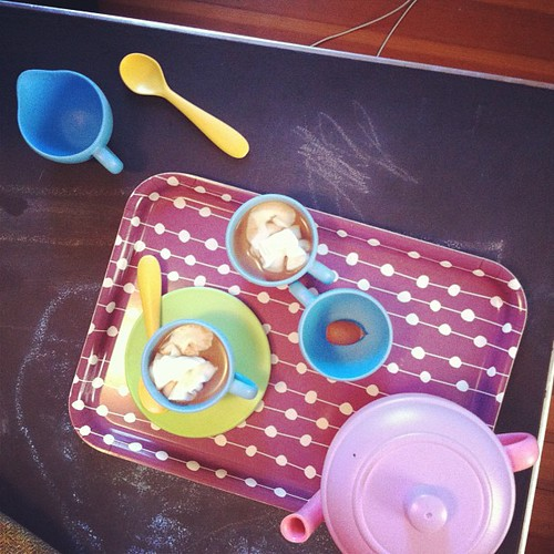 hot chocolate & an acorn for snack.  there's always an element of surprise when a 2 year old is involved. always.