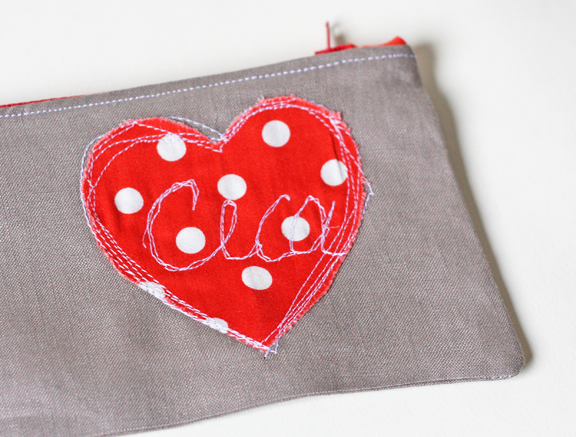 Zipper heart pencil cases