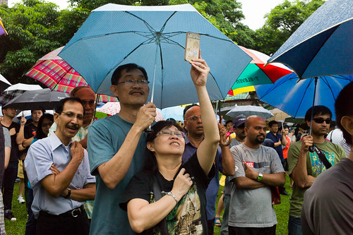 Protesters reciting the Singapore pledge in a giant show of patriotism and love of our nation.