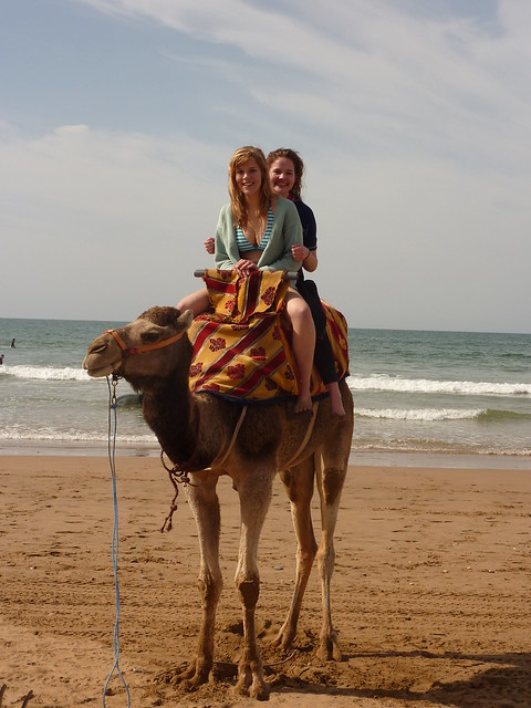 Feb 13 Morocco trip- students on a camel