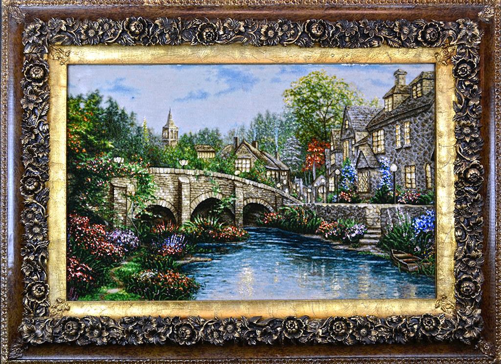 Tableau-hand-made-persian-thomas-kinkade-bridge-home-cottage