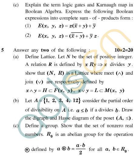 UPTU MCA Question Papers - MCA-244(2) - Discrete Structures