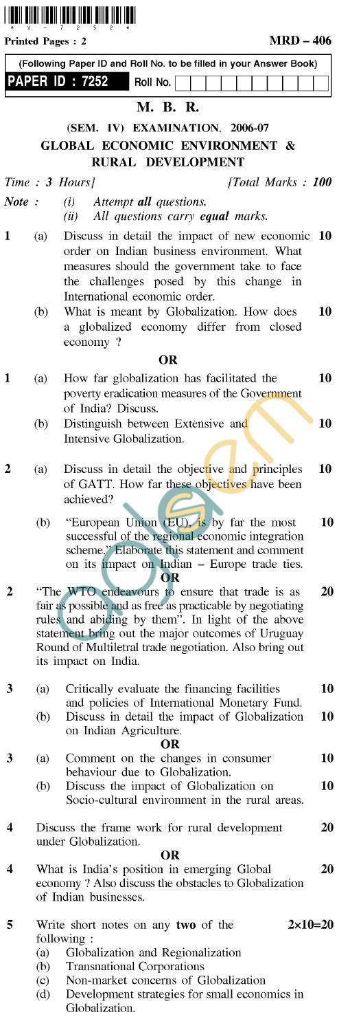UPTU MBR Question Papers - MRD-406-Global Economic Environment & Rural Development