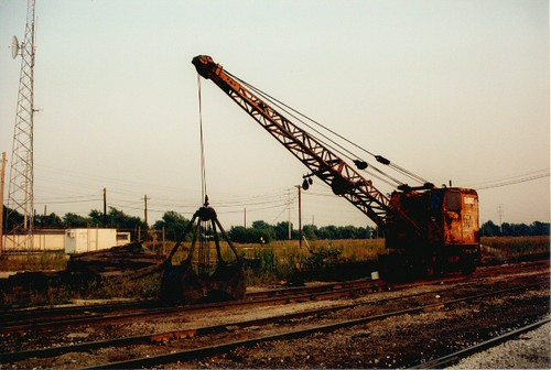 A Burro crane at the abandoned Grand Trunk Western Railroad's Elsdon Yard site.  Chicago Illinois.  September 1986. by Eddie from Chicago