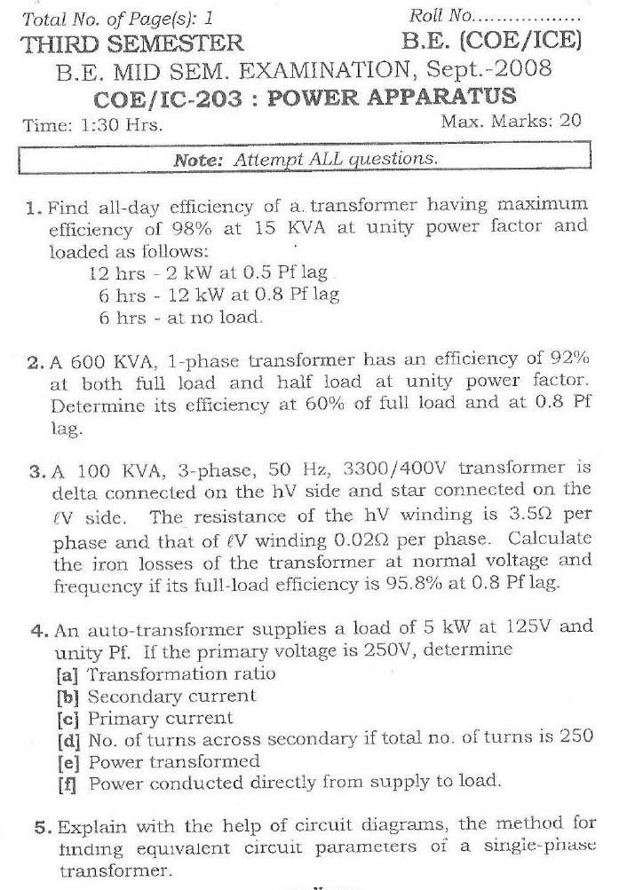 NSIT Question Papers 2008 – 3 Semester - Mid Sem - COE-ICE-203