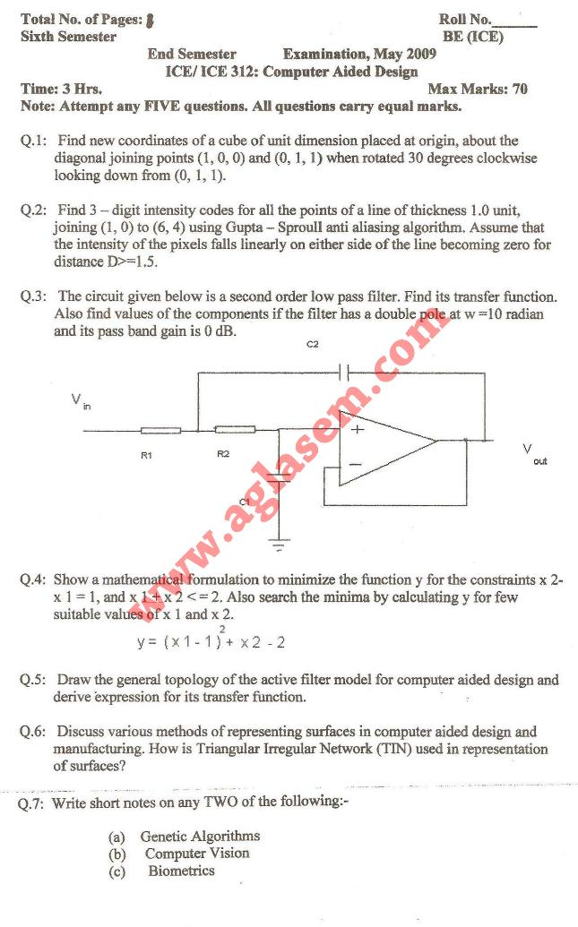 NSIT: Question Papers 2009 – 6 Semester - End Sem - ICE-312