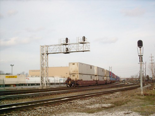 Eastbound Union Pacific Railroad double stack container train passing through Hayford Junction.  Chicago Illinois.  March 2007. by Eddie from Chicago