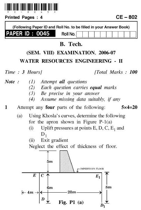UPTU B.Tech Question Papers - CE-802-Water Resources Engineering – II
