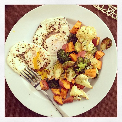 Eggs and roasted veggies for lunch! Yum!