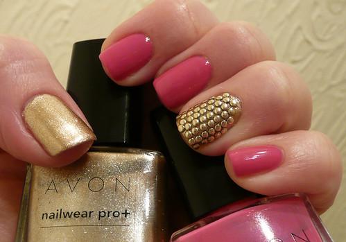 avon pink gold + studs