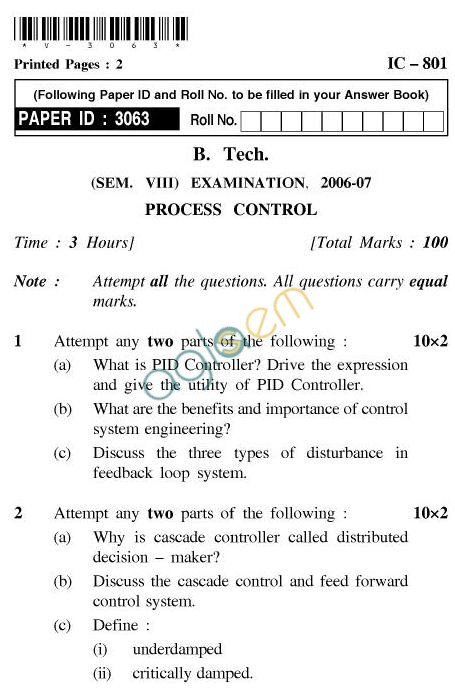 UPTU B.Tech Question Papers - IC-801-Process Control